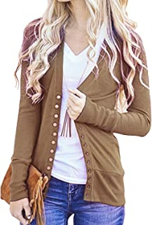 Women's V-Neck Solid Button Down Knitwear Soft Basic Long Sleeve Knit Snap Cardigan Sweater