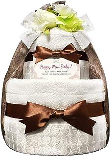 KanonBabys おむつケーキ [ 新生児向け/今治タオル : オーガニック / 2段 ] パンパースS22枚 (出産祝いに大人気) ダイパーケーキ ギフト 誕生日プレゼント 赤ちゃんの内祝い にもおすすめ