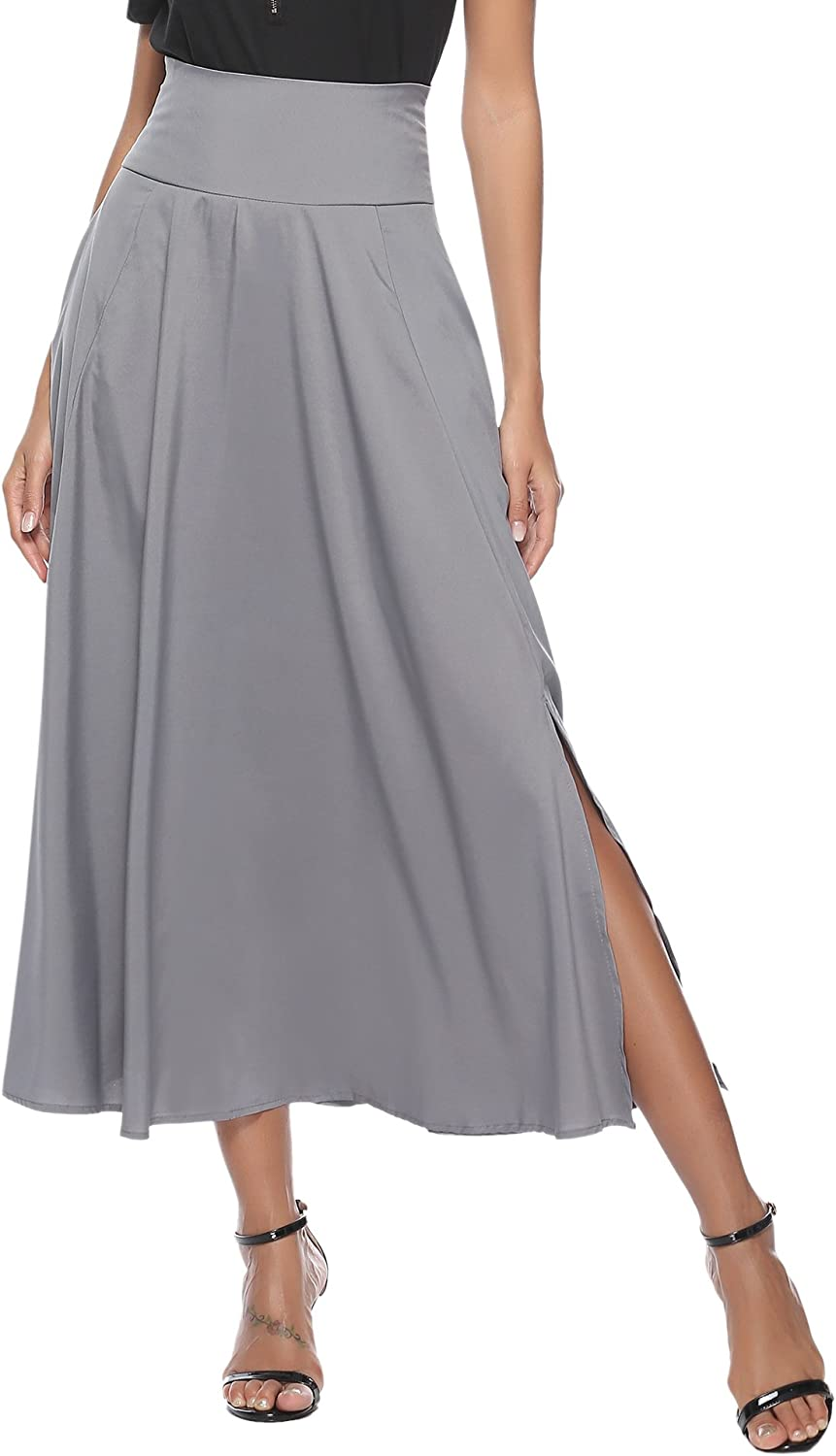 Aibrou Women High Waist ALine Front Slit Pleated Belted Maxi Skirt with Pocket