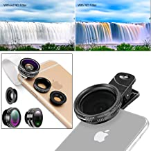 Neewer Clip-on Lens and ND 2-400 Filter Kit for iPhone 8 7 6 plus/6/5, Android etc: Fisheye Lens, 2 in 1 Macro Lens and Wide Angle Lens, Lens Holder, Adjustable Neutral Density Filter with Phone Clip