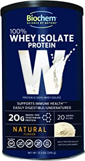 Biochem 100% Whey Isolate Protein - Natural Flavor - 12.3 oz - 20g of Protein - Pre & Post Workout - Meal Replacement - Ke...