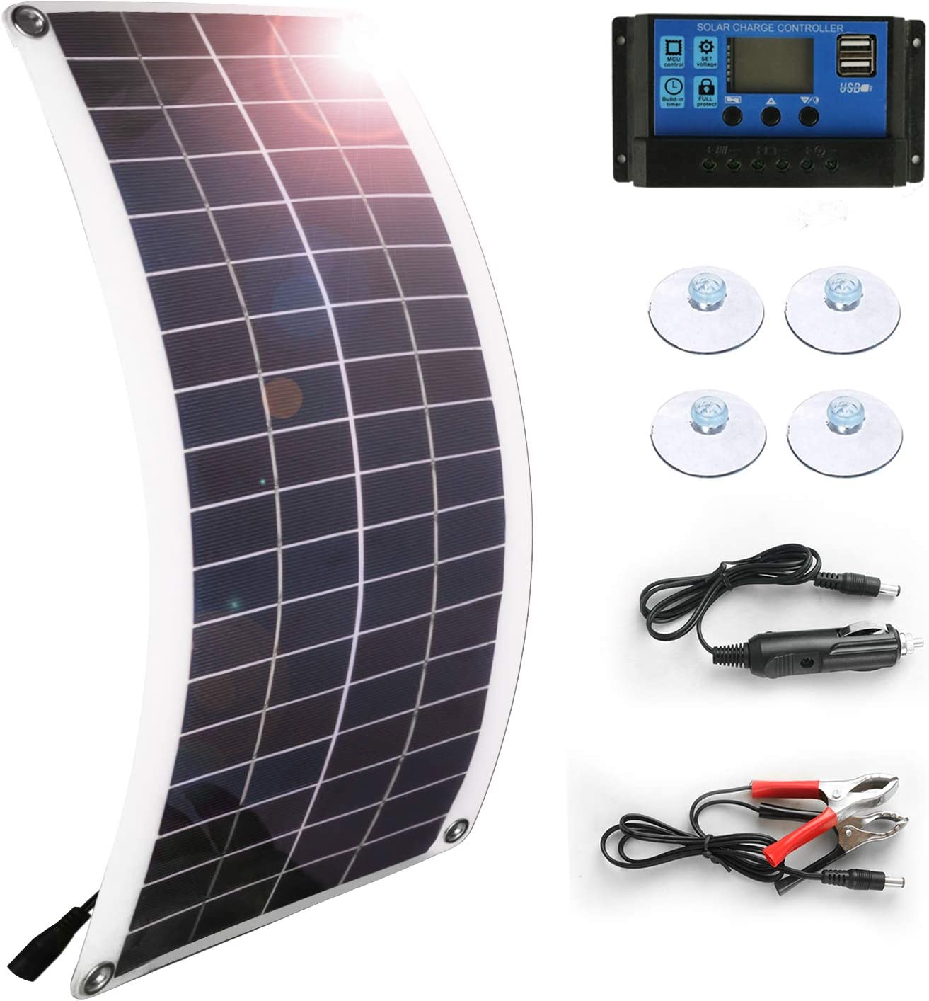 Solar Panel 25W 18V 12V Bendable Flexible Lightweight