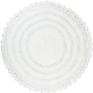 "DII 100% Cotton Crochet Round Luxury Spa Soft Bath Rug, for Bathroom Floor, Tub, Shower, Vanity, and Dorm Room, 28"" - White"