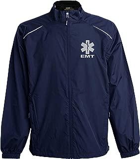 Smart People Clothing EMT Navy Windbreaker, Reflective Logo, Zip-up Jacket, First Responder