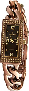 Peugeot Ladies Brown Open Link Bracelet Watch with a Brown dial and Crystal Accent Bezel. Self Adjustable Link Bracelet and jewelery Clasp
