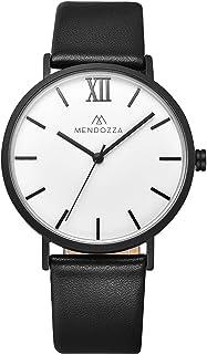 Mendozza Le Blanc Montre design plat en cuir pour homme Bracelet suisse Mouvement suisse Verre saphir Noir Blanc