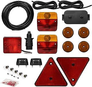 ECD Germany Anhängerbeleuchtung Set 23 teilig 7 poliger Stecker 5m Kabel   inkl. Glühbirnen und Verteilerdose   mit E Prüfzeichen   Rückleuchten Set für PKW Anhänger Beleuchtungsset Rücklicht Leuchten