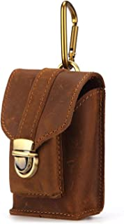 LDUNDUN-BAG, 2019 Wearing A Belt Leather Buckle Pouch 2018 New Men's Mini Pockets Crazy Horse Leather Bag (Color : Brown, Size : S)