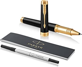 PARKER Premier Rollerball Pen, Deep Black Lacquer with Gold Trim, Fine Point Black Ink Refill