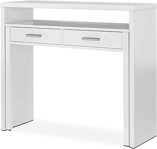 Habitdesign 004582A - Mesa de Escritorio Extensible Mesa Estudio Consola Medidas: 985 x 875 x 36-70 cm de Fondo (Blanc...