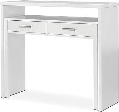 Habitdesign 004582A - Mesa de Escritorio Extensible, Mesa Estudio Consola, Medidas: 98,5 x 87,5 x 36-70 cm de Fondo (Blanco A
