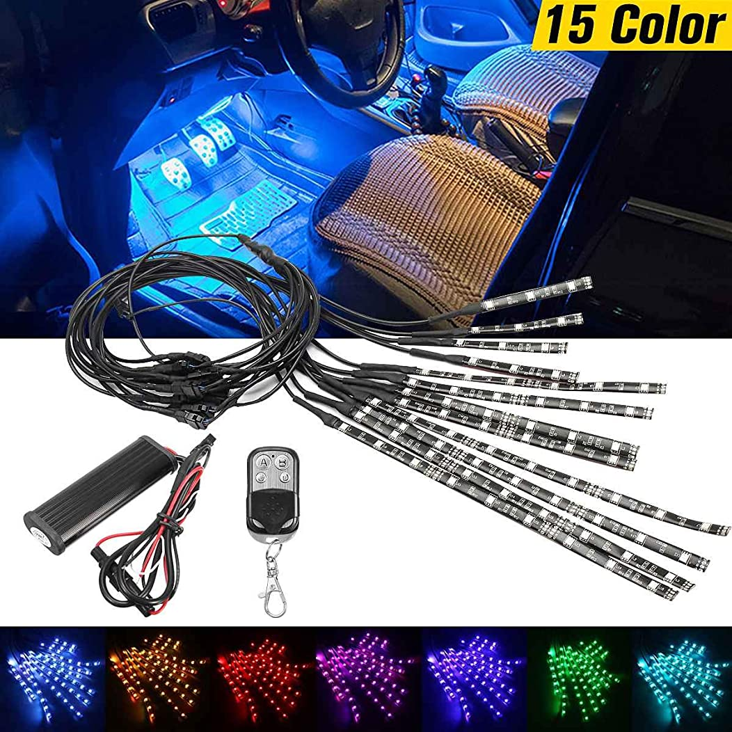 Cacys-Store - 1set MultiColor Glow Neon Wireless Remote Motorcycle 5050 LED Flashing Light 12 Strips Universal for Car/Bikes/Motorcycles