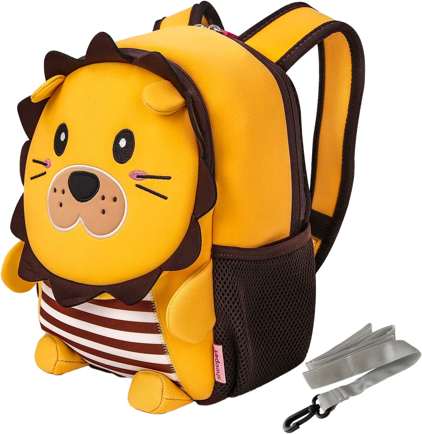 Cute Lion Toddler Backpack with Leash, Kawaii Mini Baby Bookbag Daypack with Harness for Kindergarten,Preschool Bag for 3-6 Years Old Boys Girls Kids