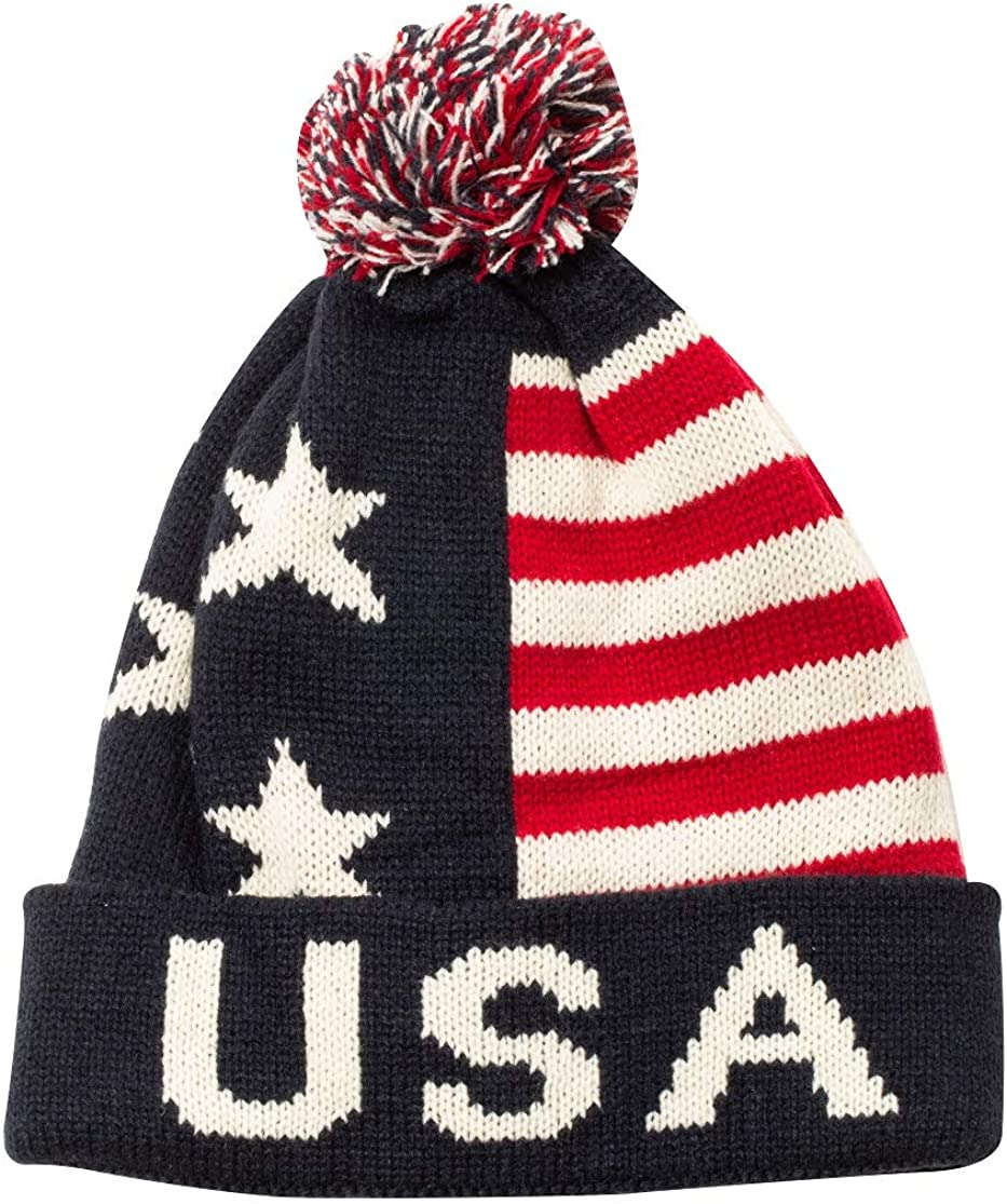 USA United States of America Pom Regular Discount mail order dealer Patriotic Winter Knit Beani