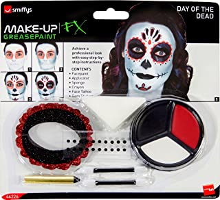 Kit de maquillaje Smiffys Day of The Dead, con pinturas faciales