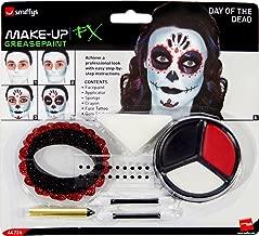 Smiffys Kit de Maquillage Day of the Dead, avec Maquillage pour le visage, Tatouages pou