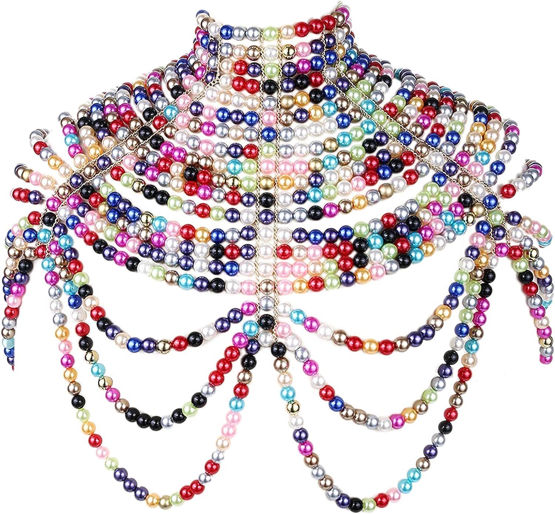 BELLULULU Women's Pearl Body Chain Max 76% OFF Sexy Chain-Sh Bikini outlet Bra