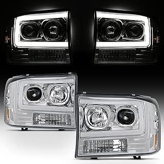 For 1999-2004 F250 F350 F450 F550 SuperDuty LED Tube Bar Projector Headlights Driver+Passenger Side