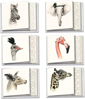 Wildlife Glamour - Boxed Blank Note Cards with Envelopes (12 Pack of 6 Cards, 2 Designs Each) - Majestic Animals, All-Occasion Greeting Notecards, Stationery (4.8 x 6.6 Inch) ACQ5025OCB-B2x6
