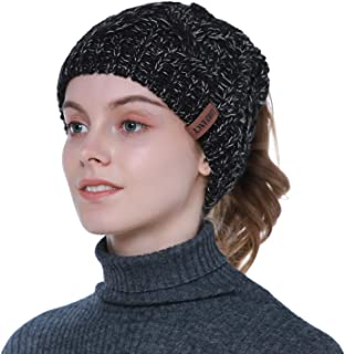 Latocos Women's Ponytail Beanie Hat Cable Knit Beanie Tail Warm Winter Hat Thick High Bun Ponytail Hat