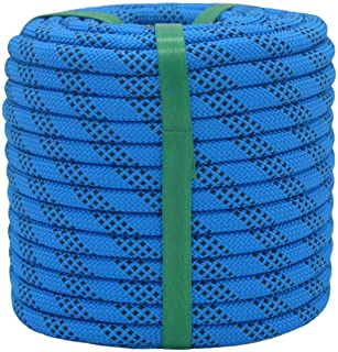 "YUZENET Braided Polyester Arborist Rigging Rope (3/8"" X 50') Strong Pulling Rope for Climbing Sailing Camping Swings,Blue/..."