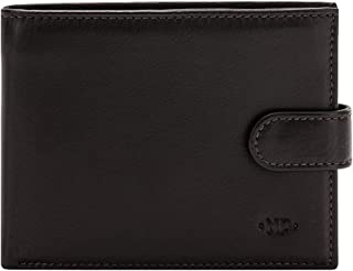 Nuvola Pelle Trifold Mens Leather Wallet Elegant with Coin Pocket Snap Closure and ID Window Dark Brown