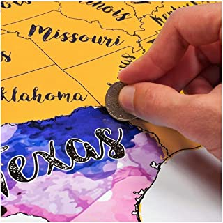 Scratch Off USA Watercolor Map by McScout Maps   Educational & Colorful Decorative Art 24X17 Inch Poster Wall   Mark Your Travels for United States Travelers