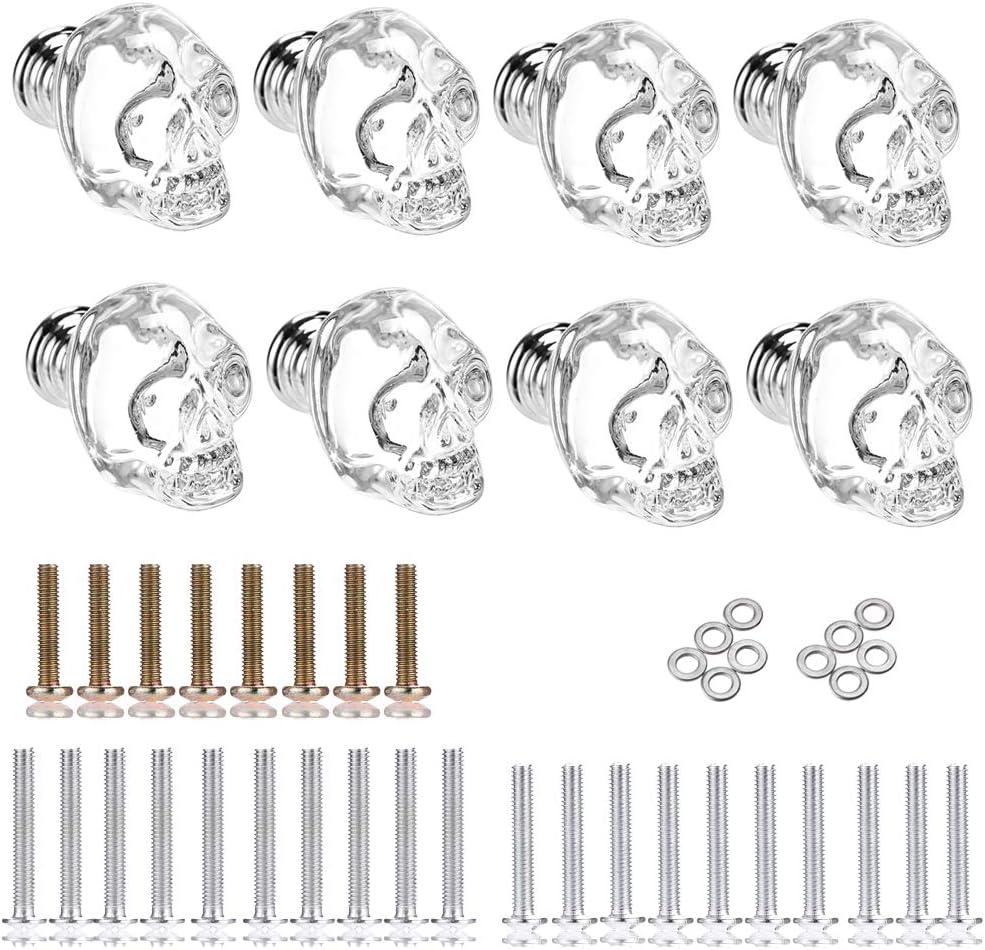 Sumnacon 8 Pcs Skull Clear Crystal Glass Door Knobs - Glass Wardrobe Pull Knobs with 3 Kinds Screws, Cupboard Pull Knobs/Drawer Pull Handles for Bedroom Furniture, Bedside Cabinet, Dresser