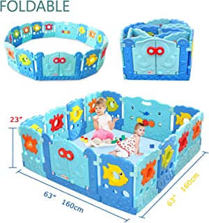 Baby Playpen - Kids 14 Panel Activity Centre Safety Play Yard, Home Indoor Outdoor New Pen - Sea World