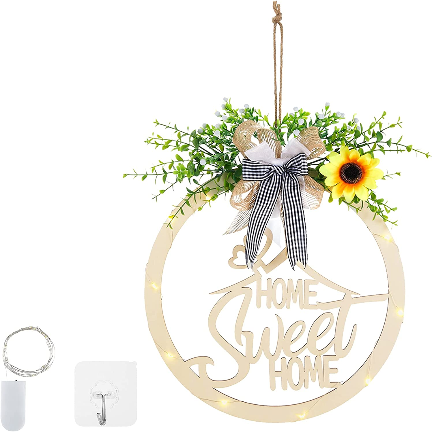 Welcome Sign for Front Door, OULXZ 12 inch Rustic Wooden Door Hangers Sunflower Welcome Wreath Sign for Farmhouse Front Porch Decor with LED Light for Home Decorations