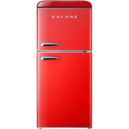 Galanz GLR46TRDER Mini Fridge with Dual Door, Adjustable Mechanical Thermostat with True Freezer, 4.6 Cu.Ft, Red