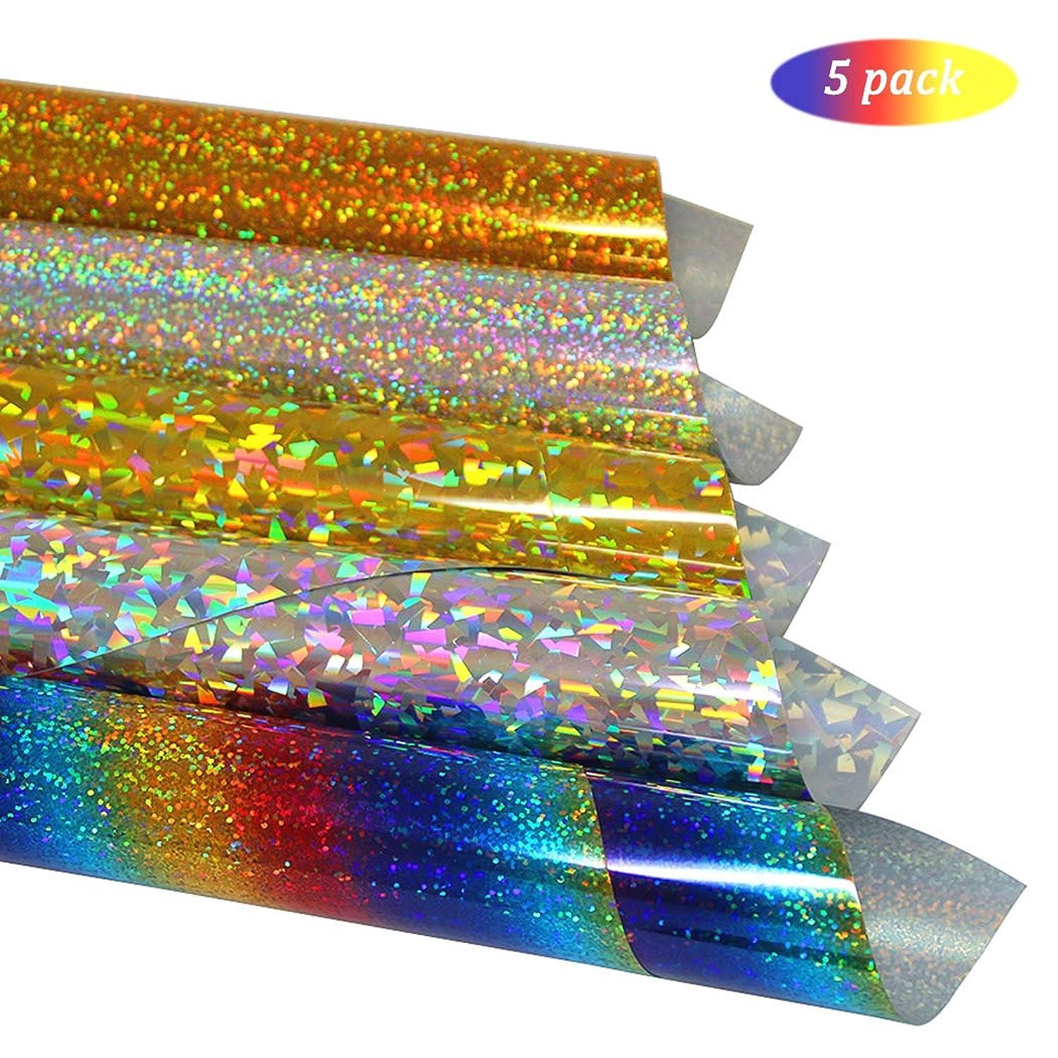 Holographic Heat Transfer Vinyl Bundle Glitter Rainbow HTV Iron on Vinyl for T-Shirts, Garment and Bags, 10