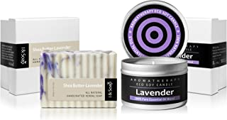 Scented Candles & Natural Soap Set (Lavender) - Aromatherapy Soy Candle - 100% Natural & Organic Materials - Handcrafted Herbal Soap & Candle (Lavender-Shea Butter Soap)