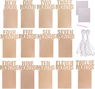 Penta Angel 1st Birthday Baby Photo Banner from Newborn to 12 Months, Monthly Milestone Photograph Kraft Paper Bunting Garland for Boy Girl First Birthday Party Celebration Decoration
