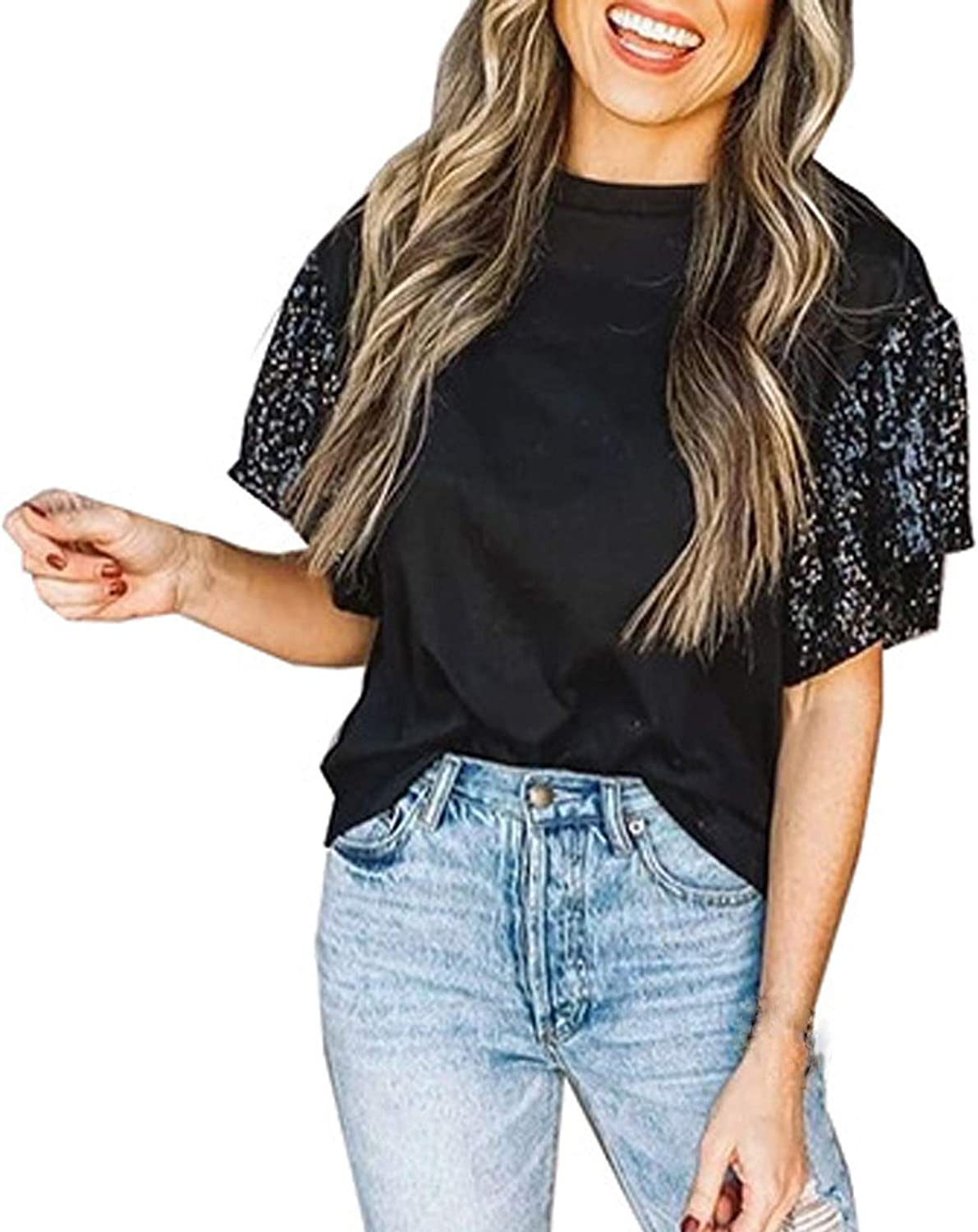 Women's Patchwork Sequin Short Sleeve Round Neck T Shirts Glitter Sparkles Loose Blouse Tops