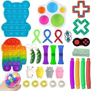 Blau, 8/×4 cm FNKDOR Bonbonfarben Simple Dimple Fidget Toy mit Anh/änger Silikon Sensory Fidget Spinner Relief Anxiety Anti Stress Spielzeug f/ür Erwachsene und Kinder