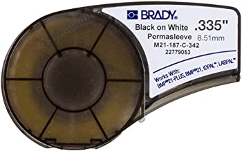 Brady PermaSleeve Heat-Shrink Polyolefin Wire Marking Sleeves (M21-187-C-342) - Black On White Sleeves - Compatible with BMP21-PLUS, ID PAL, and LABPAL Printers - 7' Length, 0.335