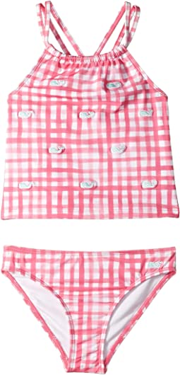 Painted Gingham Whale Embroidered Tankini (Toddler/Little Kids/Big Kids)