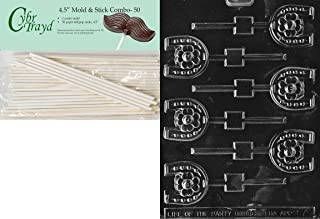 Cybrtrayd 45St50-M075 Horseshoe Lolly Miscellaneous Chocolate Candy Mold with 50-Pack 4.5-Inch Lollipop Sticks