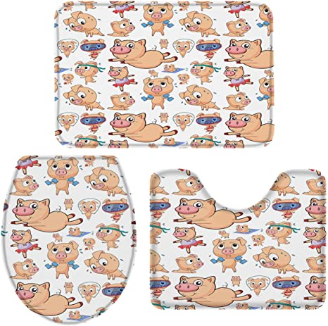 Red Cute Piggy Bathroom Rugs Set 3 Piece Anti-Skid Pads Bath Mat Toilet Lid Cover Bath Rug Set U-Shaped Contour