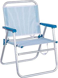 LOLAhome Silla de Playa Plegable Fija de Aluminio y textileno (Azul Marino)