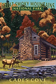 Great Smoky Mountains National Park, Tennesseee - Cades Cove and John Oliver Cabin (12x18 Art Print, Wall Decor Travel Poster)