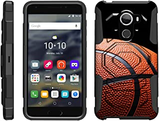 TurtleArmor   Compatible with Alcatel A30 Fierce Case   Alcatel REVVL   Walters [Octo Guard] Heavy Impact Case Tough Hard Kickstand Belt Clip Holster Sports and Games - Basketball Seams