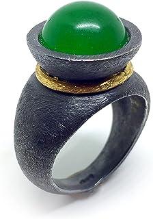 Prezioso e spettacolare anello con preziosa Giada verde (Jadeite) in cabochon di 6 carati (12 mm). Anello.