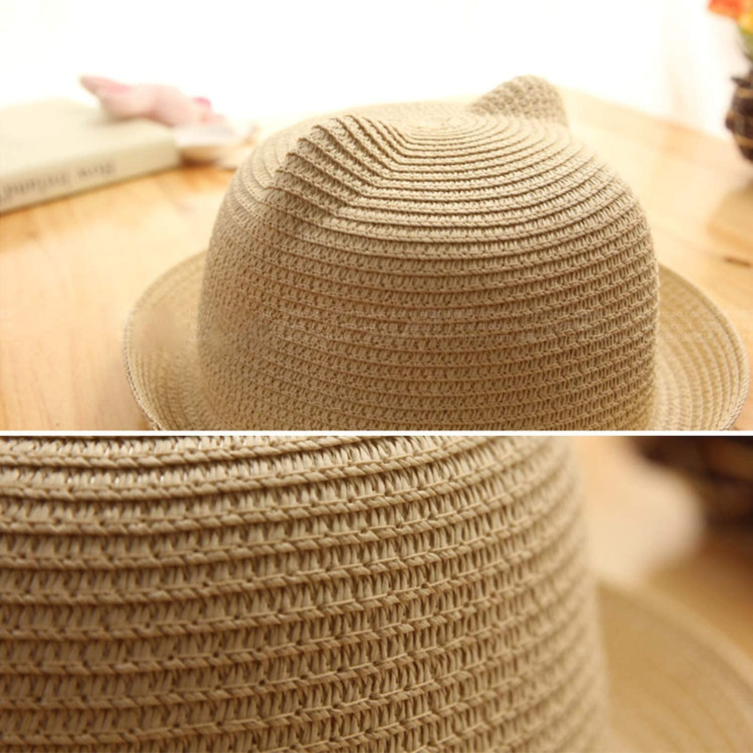 2019 Baby Straw Hat Summer Kids Cute Cat Ear Shape Solid Beach Sunhat for 2-5 Years Old