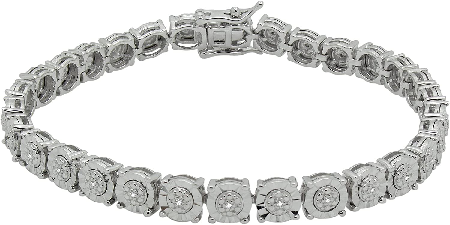 Sterling Silver Round Translated Diamond Tennis Ranking TOP15 For C 0.10 Women Bracelets