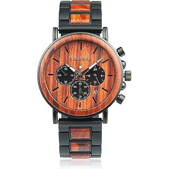 BOBO BIRD メンズ 人気 のカジュアルな手首腕時計 木製&ステンレススチール 軽量 クロノグラフ機能 木製のギフトボックス (赤)