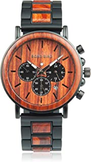 BOBO BIRD Men's Casual Wrist Watch, Wood & Stainless Steel Watch with Luminous Pointers, Classic Analog Watches with Gift Box
