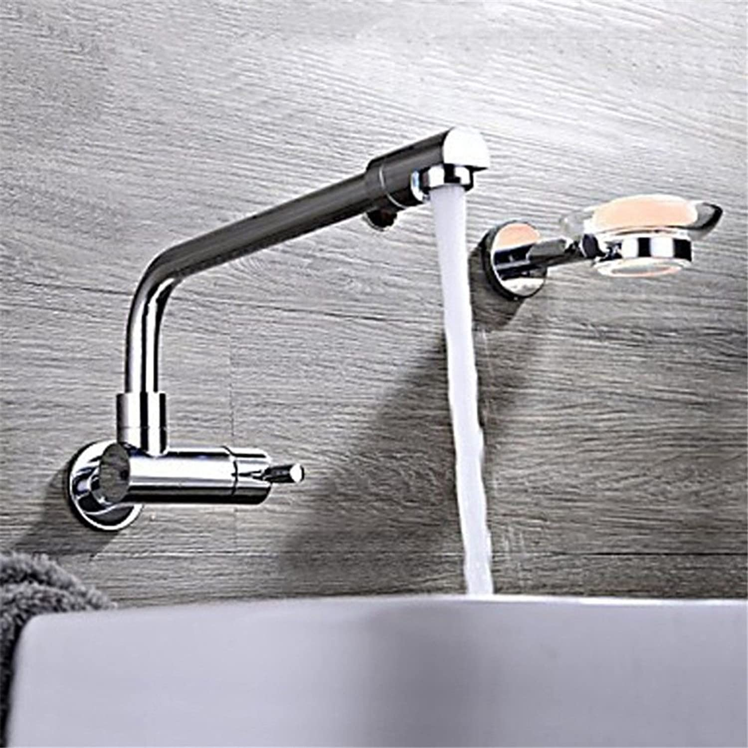 Hlluya Professional Sink Mixer Tap Kitchen Faucet The copper basin and cold water faucet chrome plated basin Mixer Taps single lead-in into the wall