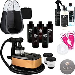 Allure Spray Tanning Machine System with Sjolie Natural Airbrush Tan Solution and Sunless Pro Kit - Black Tent